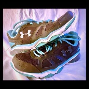 Women's gray and turquoise UnderArmour sneakers,